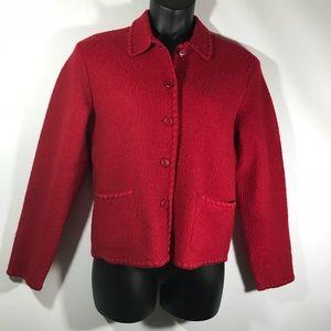 Talbots Small 100% Wool Red Sweater Blazer